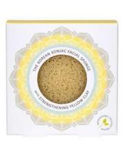 Gąbka Konjac Mandala do twarzy z żółtą glinką dla cery zmęczonej, zniszczonej, uszkodzonej przez słońce
