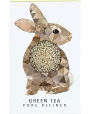 Gąbka Konjac MINI Zając z zieloną herbatą o działaniu wzmacniającym i antyoksydacyjnym dla każdej cery